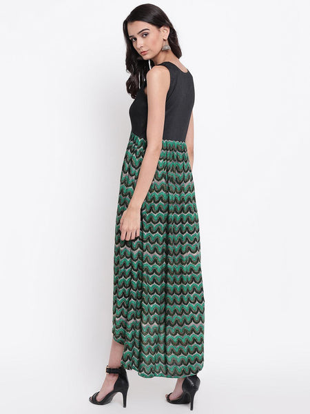 Green Chevron Asymmetric Dress