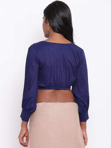 Blue Gathered Sleeve Top
