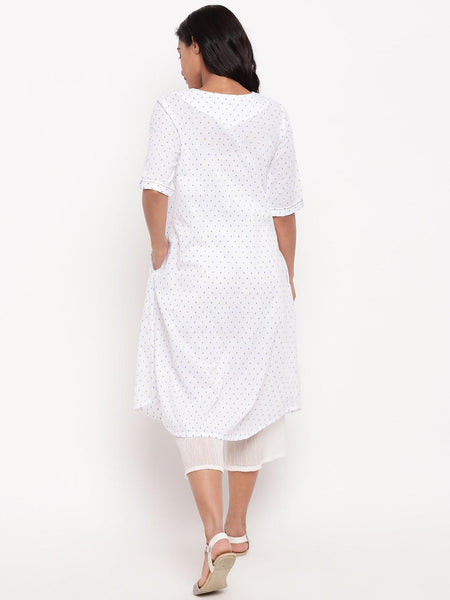 White Blue Dobby Pleats Kurta