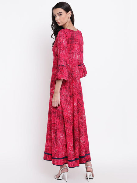 Pink Print Border Dress
