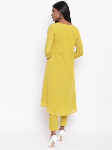 Khadi Yellow Gota Kurta Set