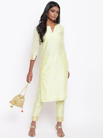 Green Foil Pin-Tucks Kurta Set