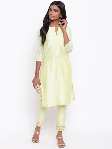 Green Foil Center Kurta Set