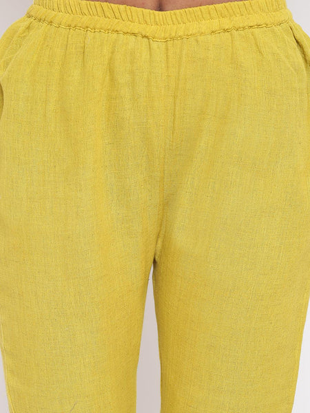 Khadi Yellow Gota Panel Kurta Set