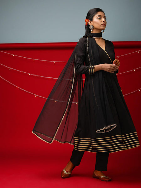 Black Lace Angrakha Set