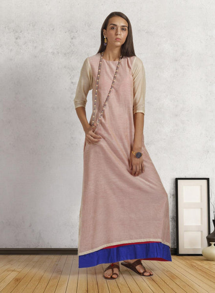 Beige Chanderi Box Fit Dress