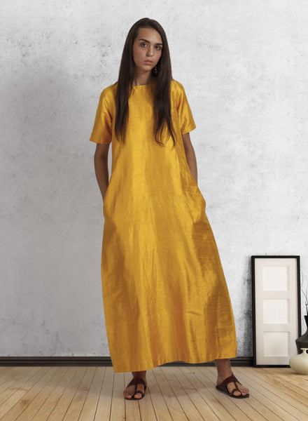 Yellow Silk Box Fit Dress