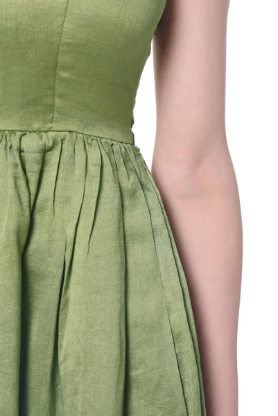 Green Cotton Silk Dress