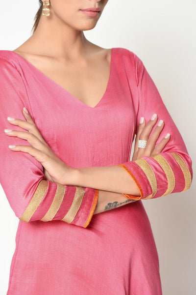 Peach Stripe Border Dress