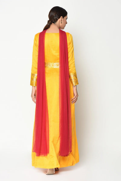 Yellow Maroon Panel Suit