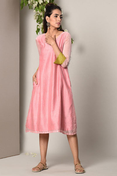 Mud Pink Green Cuff Dress
