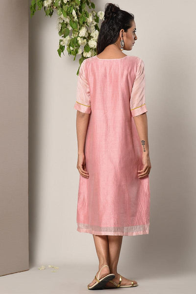 Mud Pink Contrast Center Panel Dress