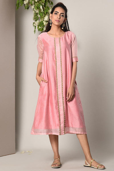 Mud Pink Jute Center Panel Dress