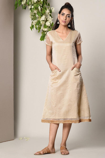 Ivory Jute Pocket-Sleeve-Hem Dress