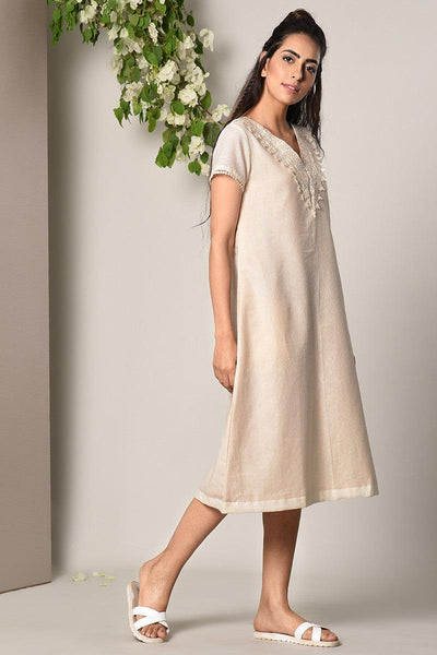 Ivory Crochet Neck Dress