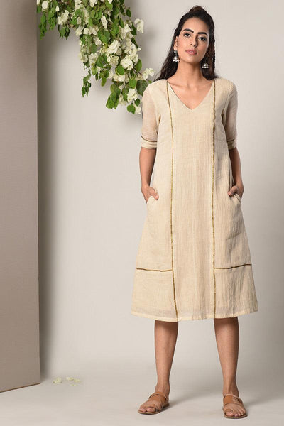 Ivory Slub Lace Square Panel Dress