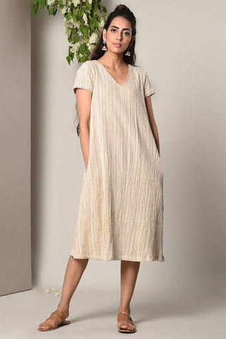 Crinkled Cotton Straight Dress
