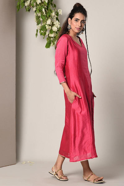 Pink Chanderi Lace Highlight Dress