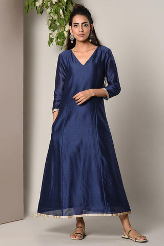 Blue Chanderi Lace Highlight Dress