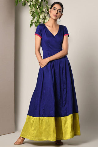 Blue Panelled Border Dress