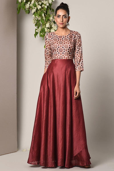 Maroon Print Bodice Dress