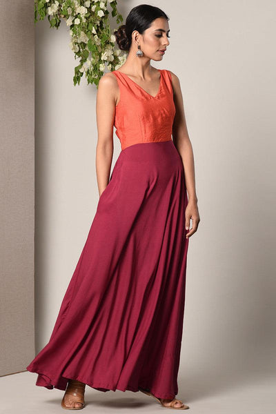Orange-Maroon Solid Dress