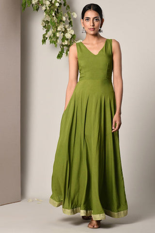 Green Border Green Dress