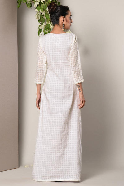 White Crochet Angrakha Dress