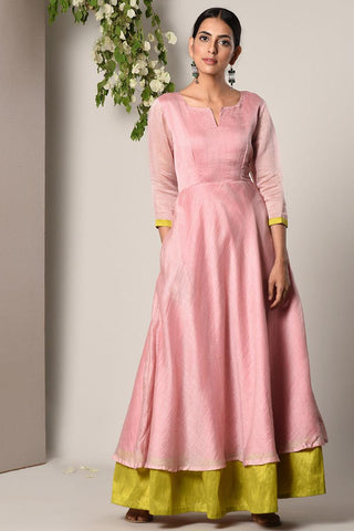 Mud Pink Green Border Suit Dress