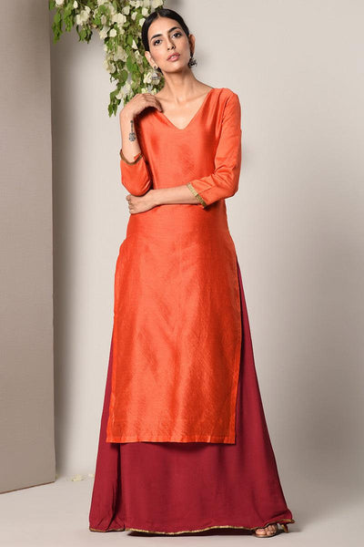 Orange Kurta Maroon Flare Dress
