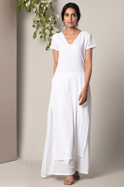 White Dabka Kurta White Flare Dress