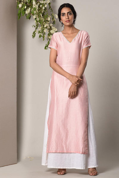 Mud Pink Kurta White Flare Dress