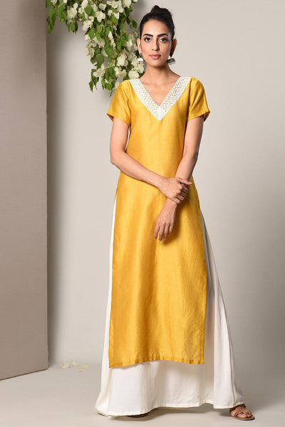 Yellow Kurta White Flare Dress
