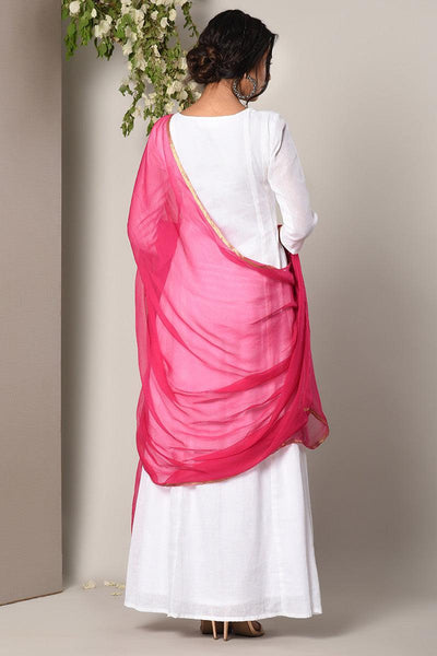 White Dress Pink Chiffon Dupatta Set
