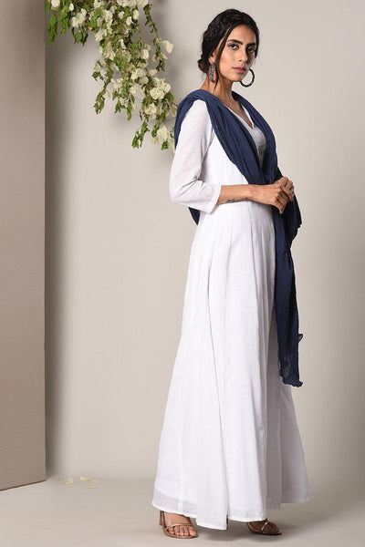 White Dress Blue Crinkle Dupatta Set