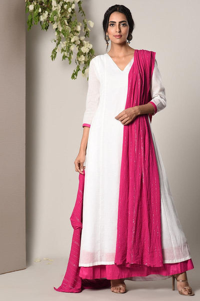 White Pink Border Dress Pink Silver Crinkle Dupatta Set