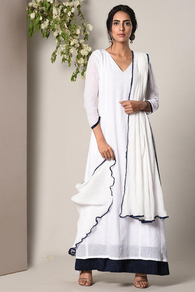 White Blue Border Dress Crinkle Blue Lace Dupatta Set