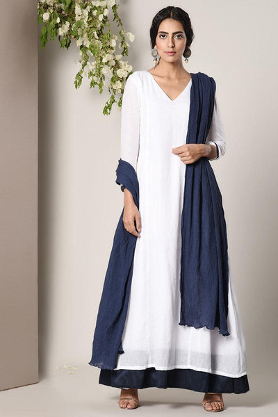 White Blue Border Dress Blue Crinkle Dupatta Set