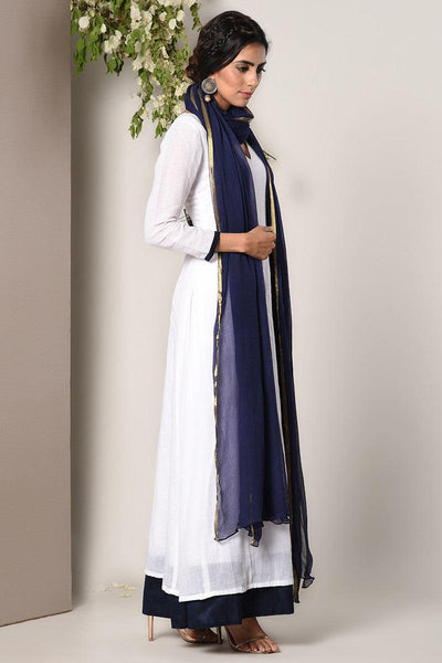 White Blue Border Dress Blue Chiffon Dupatta Set