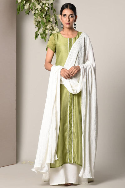 Green-White Dress White Silver Crinkle Dupatta Set