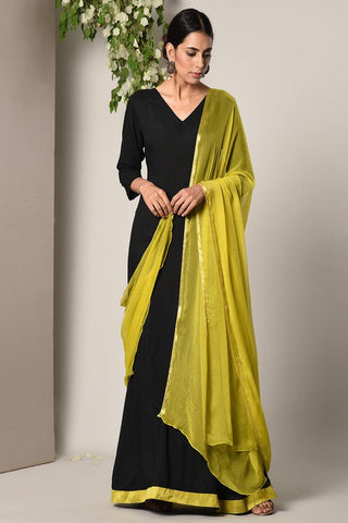 Black Green Border Dress Green Chiffon Dupatta Set