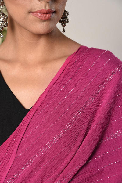 Black Pink Border Dress Pink Silver Crinkle Dupatta Set