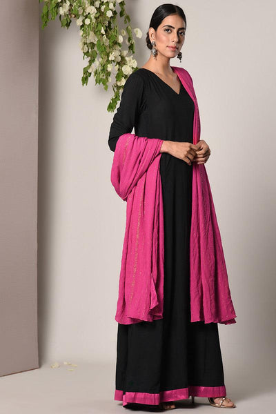 Black Pink Border Dress Pink Golden Crinkle Dupatta Set