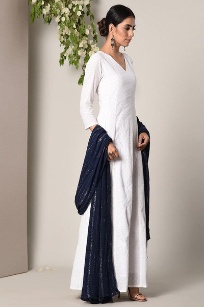 White Silver Thread Dress Blue Silver Crinkle Dupatta Set
