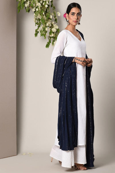 White Silver Thread Suit Dress Blue Silver Crinkle Dupatta Set