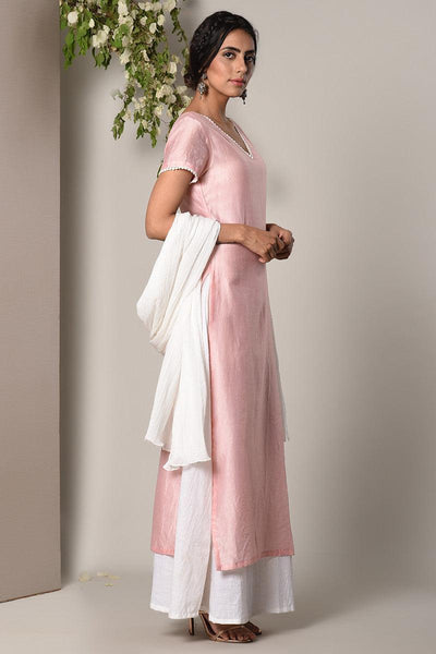 Mud Pink White Suit Dress White Crinkle Dupatta Set