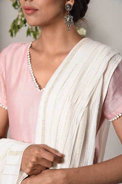 Mud Pink White Suit Dress White Golden Crinkle Dupatta Set
