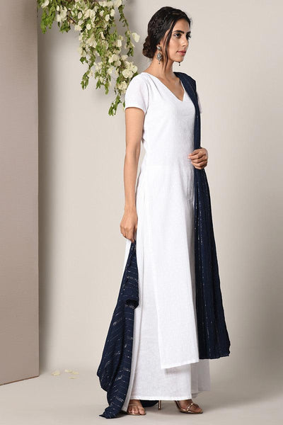 White Dabka Suit Dress Blue Silver Crinkle Dupatta Set
