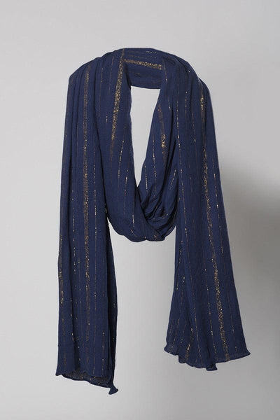 Blue Golden Crinkled Dupatta