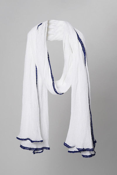White Crinkled Blue Lace Dupatta